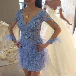 $enCountryForm.capitalKeyWord NZ - New Arrival Blue Lace Feather Short Cocktail Party Dresses With Illusion Long Sleeves Beaded V Neck Arabic Mini Prom Gowns 2019 Homecoming