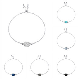 Turquoise Bracelets Silver Toggles Australia - New Druzy stone bracelet 8 colors Geometric shape Natural stone charm Gold Silver chains wrap adjustable Bangle For women Luxury Jewelry