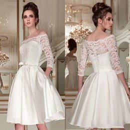 Mini brides white gowns online shopping - Bateau Neck Short Wedding Dresses with Pockets Lace Long Sleeves Wedding Gowns Short A Line Bride Dress