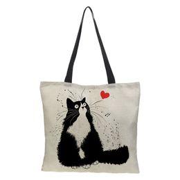 $enCountryForm.capitalKeyWord UK - Customized Cute Cat Printing Women Handbag Linen totoro style Tote Bags with Print Logo Casual Traveling Beach Bags 43cm*43cm