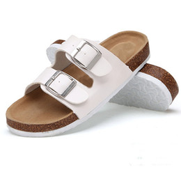 Slippers Summer Shoes Adult Australia - Shiny Film Slipper One Word Drag Sandals Adult Women Summer Flat Bottom Shoes Double Buckle Frosted Leather Black White 26lb C1