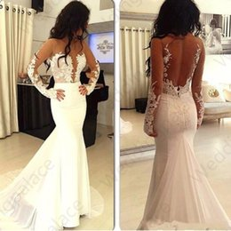 Chinese  Illusion Long Sleeve Mermaid Wedding Dresses 2019 Sheer Neckline Open Back Lace Satin Beach Wedding Dress Vestido De Novia Party Bridal Gown manufacturers