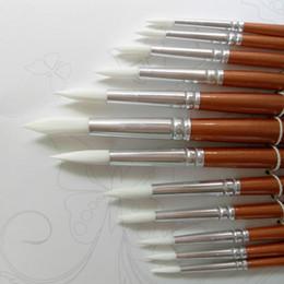 Vente en gros 24pcs / Lot Forme Ronde Nylon Cheveux Poignée En Bois Pinceau Set Outil Pour Art School Aquarelle Acrylique Peinture Fournitures