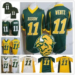 north football Canada - NCAA NDSU Bison #11 Carson Wentz 2019 Retro Men Youth Kid Yellow Gold Green White North Dakota State Cheap Vintage College Football Jersey