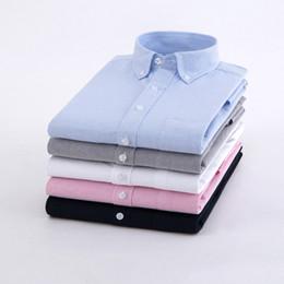 Wholesale white oxford shirt slim resale online – New Men s Oxford Shirt Autumn Casual Solid Color Men Long Sleeve Shirt Cotton Slim Plus Size White Pocket Men Clothing XL