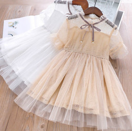 $enCountryForm.capitalKeyWord Australia - Girls lace gauze floral embroidery dress kids pearls plaid lace-up Bows tie falbala sleeve princess dress Children's day party dresses F6799
