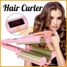 $enCountryForm.capitalKeyWord Australia - 32mm Ceramic Three Tubes Hair Curlers Digital Display Big Wave Hair Waver Curling Irons Curler Quick Heat Hair Styling Rollers