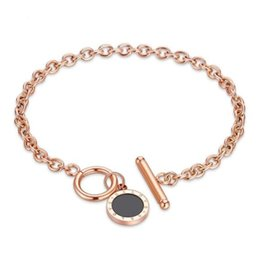 $enCountryForm.capitalKeyWord UK - Luxury designer jewelry women bracelets stainless steel black disc OT lock rose gold fashion bangle china wholesale jewelry