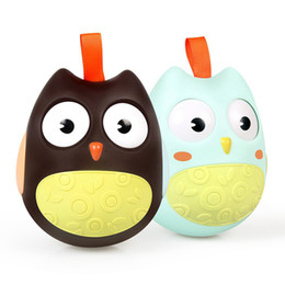moving dolls toys UK - Baby Roly-Poly Tumbler Toys With Bell Nodding Moving Eyes Owl Doll ABS Musical Learning Education Toys For Children