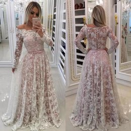 $enCountryForm.capitalKeyWord Australia - Gorgeous 2019 Long Sleeve Full Lace Wedding Dress Off Shoulder Neckline A Line Illusion Back Nude Pink Underneath Buttons Back Bridal Gowns