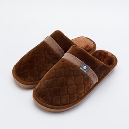 Coffee Housing Australia - Plus size Fashion Winter men Slippers with Fur Casual Blue Coffee Home Slippers House male Cotton Winter men Shoes DC245