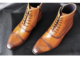 brown high american shoes Australia - European and American pointed men's shoes, designer carved high waist shoes, men's business dress high side zipper shoes men