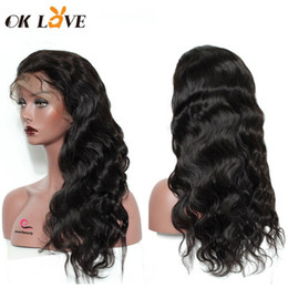 wigs natural waves NZ - OKLOVE Lace Wigs Full Lace Human Hair Wigs Brazilian Remy Hair Body Wave Wigs Pre-plucked Bleached Knots Natural Hairline With Baby hair