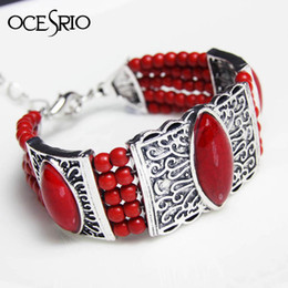 $enCountryForm.capitalKeyWord Australia - Fashion Vintage Bohemian Boho Ethnic Tibetan Silver Bracelet Red Stone Beads Bangle Carving Charm Bracelets for Women brt-j65