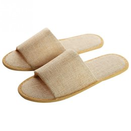 wholesale gifts homes NZ - 5 Pairs Disposable Anti Slip Adults Travel Hotel Comfortable Slippers Gift Linen Unisex Home Guest Soft Spa Casual Homestay