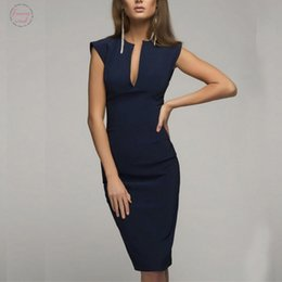 sleeveless work dresses Canada - Dress New High Quality Lady Summer V Neck Slim Casual Working Pencil Sleeveless Dress Fashion Dress Women Ap25