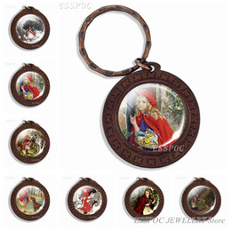 Men Wood Chains Australia - Red Riding Hood Keychain Glass Dome Jewelry Wood Key Chain Art Vintage Wooden Wolf Pendant Keyring Accessories Women Men Gifts