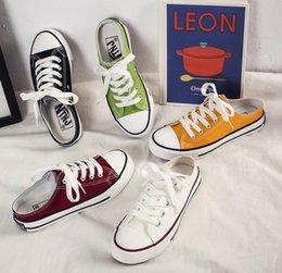 Canvas Shoes Manufacturers Australia - Manufacturers low price 2019 summer new women's canvas shoes casual shoes low to help with fashion comfortable flat canvas shoes half slippe