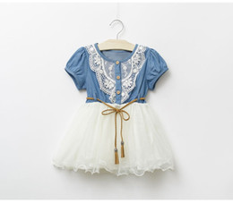 Chinese  Summer Baby Dress Denim Girls dresses 2018 New Kids Lace Floral Girl Skirt Short Sleeve Princess Dress Baby Jeans Skirt Baby Clothes manufacturers