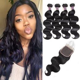 4pcs bundles closure online shopping - Brazilian Body Wave Human Bundles With Closure Peruvian Hair With Closure Malaysian Body Wave Human Hair Extensions Price