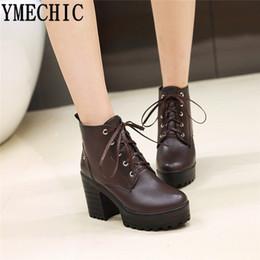$enCountryForm.capitalKeyWord Australia - YMECHIC Lace Up Boots Women Block Heels Punk Platform Shoes Black Yellow Brown Gothic Combat Ankle Boots for Women Plus Size
