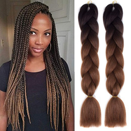 Colors kanekalon hair online shopping - Ombre Two Colors Synthetic Kanekalon Jumbo Braiding Hair inches g pack Jumbo Braids Kanekalon Braiding Hair Crochet Braids Hair