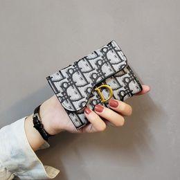 Women PU Leather Wallet Bifold Letter D Women Short Wallet Purse Coin Pouch Multi-functional Cards Wallet on Sale