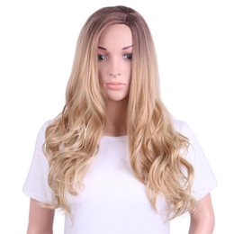 $enCountryForm.capitalKeyWord Australia - Hot selling women long hair wig 24 inch blonde big curly wigs 100% synthetic hair with weaving cap free shipping