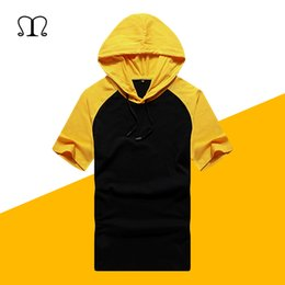 Wholesale mens hooded t shirts online – design Summer Mens T shirts Fashion Short Sleeve Tee Patchwork Hooded Tops Hip Hop Streetwear Male Loose Pullover Moletom