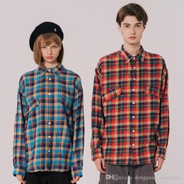 blue red checkered shirt Australia - 2019 Men Hip Hop Streetwear Shirt Harajuku Rainbow Blue Plaid Shirt Long Sleeve Retro Vintage Checkered Shirt Autumn Casual Tops