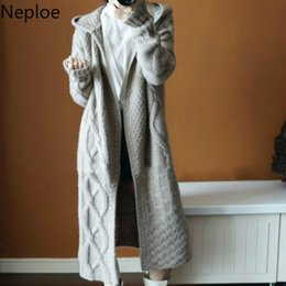 hooded knitted cardigan women NZ - Neploe Autumn Winter Women Hooded Thick Knit Cardigan Long Section Fashion Cross Solid Abrigos Mujer Inverno 2019 45814 SH190928