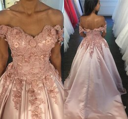 stunning short sleeve evening dress Canada - Stunning Pink 3D Flowers Pearls Prom Quinceanera Dress Long Lace up Off The Shoulder Applique Satin Sweet 16 Dress Formal Evening Gowns