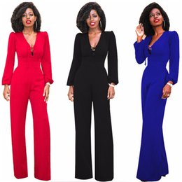 Discount formal long jumpsuit - Lace Up Bandage Jumpsuits for Women Autumn Winter Sexy High Waist Palazzo Long Sleeve One Piece Tunic Rompers with Wide