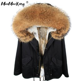 lined green army parka Australia - MMK 2019 Fashion woman army green Large raccoon fur collar hooded coat parkas outwear detachable rabbit fur lining winter jacket V191209