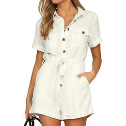 $enCountryForm.capitalKeyWord Australia - Rompers Women Jumpsuit Buttons High Waist Plus Size Short playsuit Summer Short Sleeve Ladies Loose Casual Pocket Jumpsuit