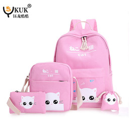 $enCountryForm.capitalKeyWord Australia - Trendy Fashion 5 Pcs set School Backpacks Children Student School Bag EBG Wholesale 2017 Korean-Style Cute Japanese Cat