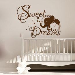 Black Baby Art Australia - Sweet Dream Elephant Mom And Her Baby Wall Sticker PVC Vinyl Art Kids Bedroom Wall Decor Decals Murals Decoration