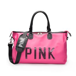 Waterproof laptop china online shopping - Pink Letter Sequin Duffle Bags Women Handbag Large Capacity Waterproof Outdoor Travel Sports Beach Shoulder Bags Tote Shopping Bag sale
