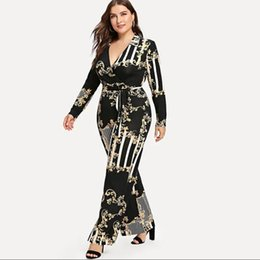 jumpsuit styles for plus size UK - Plus Size Mixed Print Wrap Jumpsuit Women Milk Silk Soft Wide Leg Pant Lace Up Sexy V-neck Long Sleeve Jumpsuits For Female 3xl MX190726