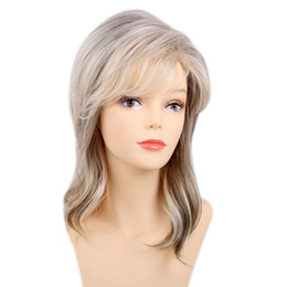 quality blonde wigs 2019 - Fashion Blonde Blend Brown Curly Wig Bangs Human Hair Daily Party Heat Safe>>>>>Free shipping New High Qu