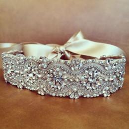 Elegant Sash Belt Australia - wholesale Elegant Luxury Wedding Belt Crystal Pearl Beading Bridal Sash Evening Dress Belt For Women (12.6*2.6 inch)