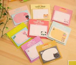 Toptan satış Sevimli Kawaii Karikatür Memo Pad Tavşan Panda Kedi Ayı Mesajı Sticker Sabit Kağıt Hediye Kid Okul Kırtasiye İçin