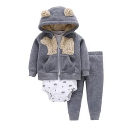 Winter Baby Fleece Suit Australia - Baby Boy Clothes Cartoon Fleece Jacket+bodysuit+pant Newborn Set Girl Outfit Autumn Winter Suit Infant Clothing Fashion Costume J190514