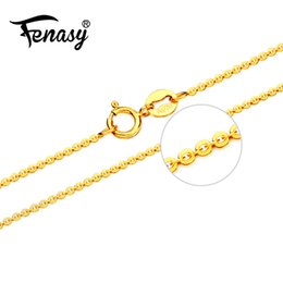 $enCountryForm.capitalKeyWord NZ - FENASY Genuine 18K Yellow Rose Gold Chain Cost Pure 18K white Gold Necklace for love Best Gift For women tendy necklaces