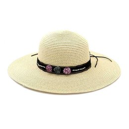 Ladies smaLL sun hats online shopping - New Fashion Small Fresh Casual Wild Flowers Straw Cap Ladies Sun Visor Outdoor Beach Cap Straw Wide Straw Hat