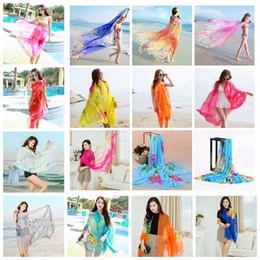 Floral scarFs online shopping - Women Chiffon Scarves Floral print Scarf Soft Summer Towel Shawl Outdoor beach bikini cover Wraps Sunscreen LJJA2478