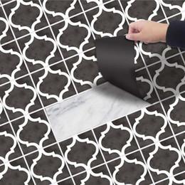 Waterproof Stickers For Kitchen Wall Australia - Black & White Floor Sticker Self-adhesive Waterproof Bathroom Wall Stickers Living Room Kitchen Toilet Decoration 3D Wallpaper