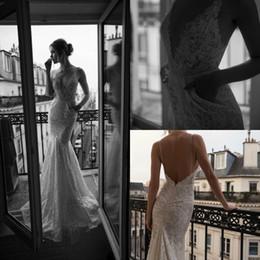 Discount wedding dress pockets spaghetti straps - 2019 Lace Mermaid Wedding Dresses Inbal Dror Spaghetti Straps Appliqued Beach Wedding Dress Bridal Gowns with Pockets Ba