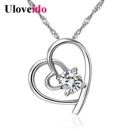 Necklaces Pendants Australia - dhgate 15% Off Heart Necklaces & Pendants Women's Wedding Silver Color Jewellery Necklace Purple Cubic Zirconia Pendant N296