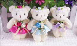 Baby Games Home Australia - wholesale Baby Girl Plush Toys Flower Bouquets Beaded Teddy Bear Mini Soft Design Wedding Home Decoration Bear Toys